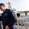 ALLEGRA BOVERMAN/Staff photo. Gloucester Daily Times. Gloucester:The Coast Guard Cutter Grand Isle returned to Gloucester on Friday afternoon after seven months of repairs and 10 days at sea. Ship Captain Christjan Gaudio of Rockport greets his family waiting for him including wife Valarie, daughters Isabella, 8, Evelyn, 6, and Christjan II, 3.