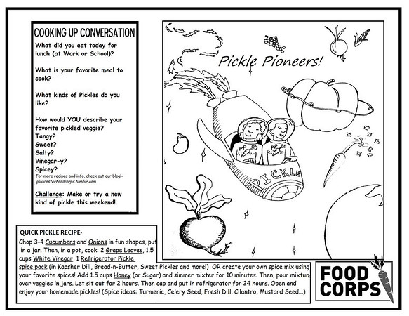 Courtesy Photo/Gloucester Daily Times. Gloucester: The placemat students at Veterans Memorial Elementary School could take home to color, refer to and cook from to celebrate Pickle Pioneer Day.