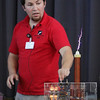 ALLEGRA BOVERMAN/Staff photo. Gloucester Daily Times. Gloucester: During a PTO-sponsored enrichment program at Beeman Elementary School on Friday given by the Museum of Science. Museum educator George Pechmann talks about how a Tesla Coil, right, works to show evidence of a magnetic field.