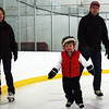 Little Thomas Kerans, 4, scrambles on the ice while his parents, Tom and Michelle, follow closely behind during a benefit skating event for the Rockport PTO and the Cape Ann Skating Club on Wednesday. Jesse Poole/Gloucester Daily Times Feb. 22, 2012