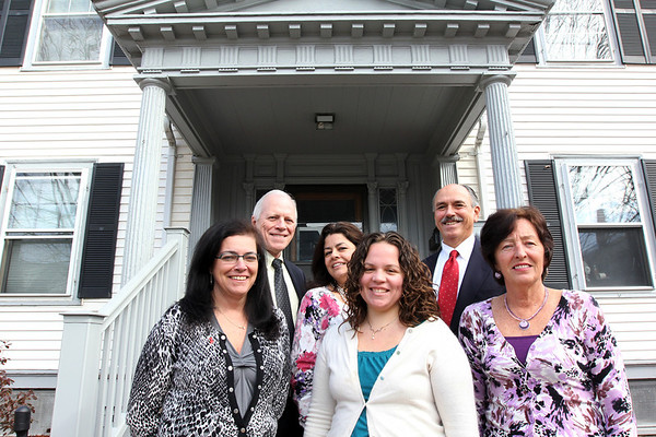 ALLEGRA BOVERMAN/Staff photo.Gloucester Daily Times. Gloucester: Cape Ann Insurance team: Back row from left are: Bill Carlson, Isabel Cottone, and Charles Nahatis. Front row, from left are: Diane Parisi, Holly Mayer and Jeanne Cairns.