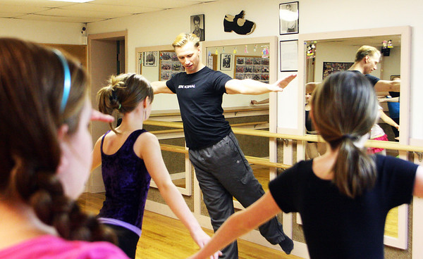 Jesse Poole/Staff photo. Gloucester Daily Times. Gloucester: Broadway actor and dancer Steve Geary of Gloucester revisits where it all started for him: Miss Tina's Dance Studio. Geary, who is currently touring with The Addams Family show, which is currently playing at Boston's Shubert Theater, leads a group of young dancers in warm-up routines.