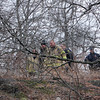 ALLEGRA BOVERMAN/Staff photo. Gloucester Daily Times. Gloucester: A small fire on the commuter train tracks off Whittemore Street was extinguished by Gloucester firefighters on Wednesday afternoon.