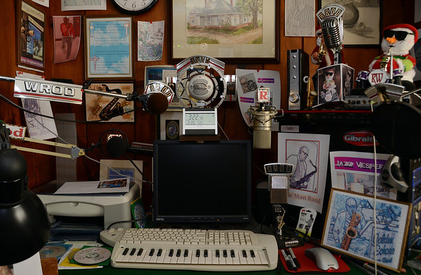 Photo Courtesy of Jake Levin/Gloucester Daily Times. Details of Roger Wonson's collection of microphones and other recording equipment at his home recording studio at his house in Beverly.
