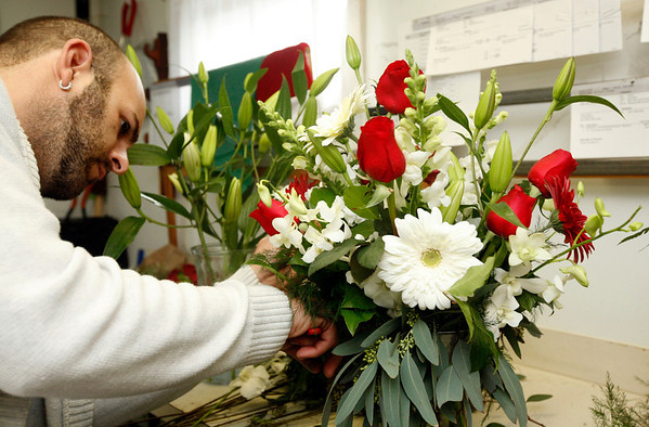 Allegra Boverman/Gloucester Daily Times. David Nunes of Gloucester designs a Valentine's Day bouquet at Audrey's Flower Shop on Wednesday during the holiday crunch time.