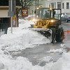 Allegra Boverman/Gloucester Daily Times. Prospect Street from Washington St. to Maplewood Avenue was closed for more plowing and clearing of snow in the sidewalks on Monday.
