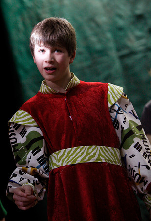 """Allegra Boverman/Gloucester Daily Times. East Gloucester Elementary School fifth grader Sam Ciolino, as Prince Frank, appears in """"Doo-Wop Wed Widing Hood,"""" a comic musical the entire fifth grade and their teachers are to perform Thursday and Friday at 7 p.m. and Saturday at 3 p.m. at the Davis Street Extension school. Tickets are $5 per person."""