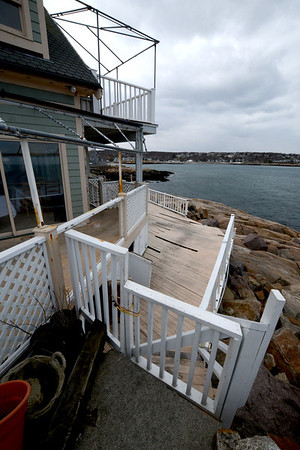 Jim Vaiknoras/Gloucester Daily Times: Damage caused by last week's blizzard to My Place by the Sea on Bear Skin Neck in Rockport.