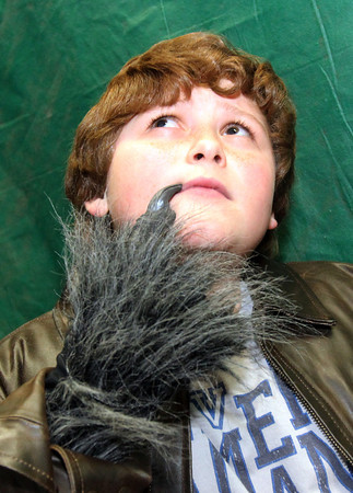 """Allegra Boverman/Gloucester Daily Times. East Gloucester Elementary School fifth grader Nick Nunes is an Elvis-like Wolf in """"Doo-Wop Wed Widing Hood,"""" a comic musical the entire fifth grade and their teachers are to perform Thursday and Friday at 7 p.m. and Saturday at 3 p.m. at the Davis Street Extension school. Tickets are $5 per person."""