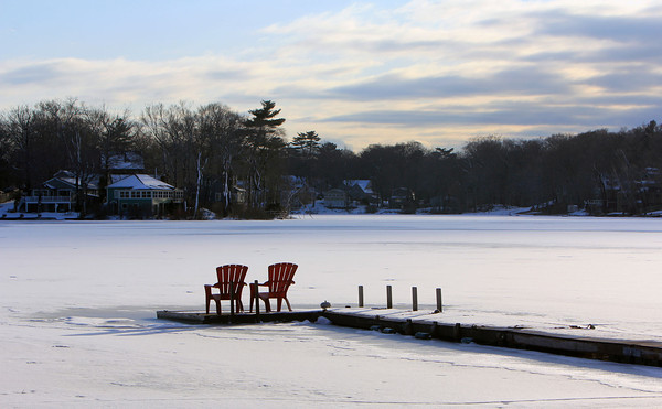 Allegra Boverman/Gloucester Daily Times. The view along Lakeview Road in Essex on Monday afternoon on Chebacco Lake.