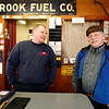 Allegra Boverman/Gloucester Daily Times. Gaybrook Garage in Essex is changing hands. Stan Collinson, right, and his wife Daisy Nell have sold the historic garage to their employee Mike Crowley, left.