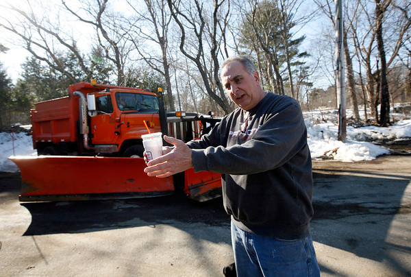 Allegra Boverman/Gloucester Daily Times. Howie Lane of Essex helped rescue a driver from Danvers who hit his plow truck early Tuesday morning on I-95 in Peabody as Lane was working to clear snow from the side of the road. He was talking about the incident on Thursday at his house.