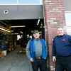 Allegra Boverman/Gloucester Daily Times. Gaybrook Garage in Essex is changing hands. Stan Collinson, left, and his wife Daisy Nell have sold the historic garage to their employee Mike Crowley, right.