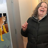 """Allegra Boverman/Gloucester Daily Times. Stubby the cat was the guest of honor at a Valentine's Day/birthday party held Thursday at Maritime Gloucester. """"Pin the tail on the Stubby"""" was a popular game during the party. Janet Rice of Gloucester was trying her luck."""