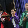 """Allegra Boverman/Gloucester Daily Times. East Gloucester Elementary School fifth grader Juliana Freed, far left, is an evil witch in """"Doo-Wop Wed Widing Hood,"""" a comic musical the entire fifth grade and their teachers are to perform Thursday and Friday at 7 p.m. and Saturday at 3 p.m. at the Davis Street Extension school. Tickets are $5 per person. Behind are Lucy Garberg, center back, and Jordan Mitchell."""