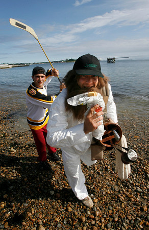 Gloucester: Vinny Parisi, left, and Sandy Palazzolo, right, will be dressed as Happy Gilmore and his golf caddy, Otto, for this Sunday's Greasy Pole. Photo by Kate Glass/Gloucester Daily Times