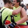 Gloucester: Rob Lowe and Tom Malloy of Relentless celebrate their win over Do Oar Die in the junior seine boat race yesterday afternoon. Photo by Kate Glass/Gloucester Daily Times Sunday, June 28, 2009