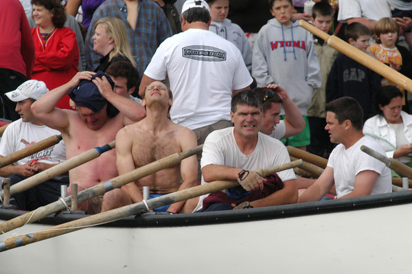 Gloucester: Members of Seize the Moment react after lossing a close race againt to Kaos in the Senior Seine Boat race of Pavilion Beach,Sunday afternoon. Desi Smith Photo/Gloucester Daily Times. June 28,2009