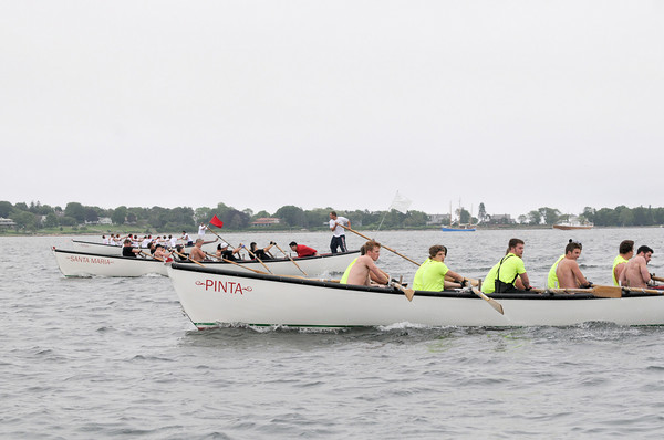 Gloucester: Jr Seine Boat teams race to the finish during Sunday's compatition off Pavilion Beach. Desi Smith Photo/Gloucester Daily Times. June 28,2009
