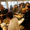 Gloucester: The line at A New Fish Festival at The Gloucester House extended well past the buffet and into the dining room last night as people tasted dishes prepared by the Gloucester Fishermen's Wives Association, The Gloucester House, Intershell Seafood, Passports Restaurant, Emerson Inn by the Sea and Lobsta Land. Photo by Kate Glass/Gloucester Daily Times Wednesday, June 24, 2009