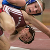 Gloucester's Colin Harrison and Georgetown's Rob Blythe wrestle at Gloucester High School Saturday January 10, 2015.  Photo/Reba Saldanha
