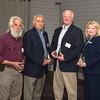 DESI SMITH/Staff photo.  Winners of the Chamber's Cape Ann Business People of the Year, from left to right, are Dr. Sydney Wedmore of Rockport, Joe Lucido of Gloucester, Dan Houde of Manchester, and Heidi Jackson Dean of Essex, received thet awards Friday afternoon at Castle Manor on Essex Ave in Gloucester.    June 6,2014