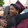 DESI SMITH/Staff photo.  A.J Rummel gets a hug from Cindy Thompson of Rockport,before heading inside for graduation, Friday night at Rockport High School.    June 6,2014