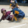 DESI SMITH/Staff photo.    Rockport's Allie Davis looks to the umpire, as she is called safe at thrid, against Lynnfield Saturday afternoon at the ball field behind Rockport Elementry School.   May 31,2014