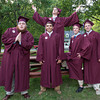 "DESI SMITH/Staff photo. ""Joyous Photo"" Classmates from left to right, Kyle Schrafft, Patrick McNiff (back) Anthony Ciaamitaro, Sam Roell and Ryan Davis, have some fun before heading inside for graduation, Friday night at Rockport High School.    June 6,2014"