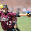 DESI SMITH/Staff photo.    Rockport's pitcher Jessica Collins delivers a pitch against Lynnfield Saturday afternoon, at the ball field behind Rockport Elementry School.   May 31,2014