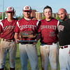 DESI SMITH/Staff photo.    From left, Gloucester's Curtis Quinn, Peter Clark, Jorden Pallazola, and Head Coach Bryan Lafata, pose with their MIAA Finalist Trophy afetr coming up short against Masco, Saturday afternoon at LeLacheur Park in Lowell    June 7,2014