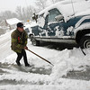 Gloucester firefighter Jason Lococo clears the area in front of Bay View Station yesterday afternoon. Although the station was supposed to be closed, it was opened to respond to snow related emergencies. Photo by Kate Glass/Gloucester Daily Times Wednesday, January 28, 2009