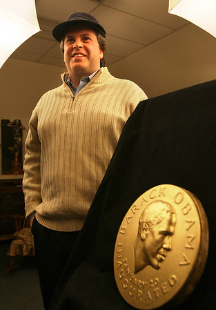 Gloucester: Local sculptor Daniel Altshuler entered a competition to design the official inaugural medal. Photo by Kate Glass/Gloucester Daily Times Thursday, January 15, 2009