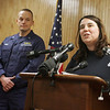 Gloucester: State Representative elect Ann-Margaret Ferrante, local fishing activist, spoke at the press conference at the U.S. Coast Guard Station Gloucester about the sinking of the fishing vessel Patriot Saturday afternoon.  Ferrante, who grew up with Matt Russo, one of the men lost at sea, remembers Russo as a compassionate man who always had a smile on his face. Mary Muckenhoupt/Gloucester Daily Times