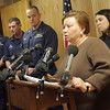Gloucester: Angela Sanfilippo, head of the Gloucester Fisherman's Wives Association speaks at the press conference held about the sinking of the fishing vessel Patriot at the U.S. Coast Guard Station Gloucester Saturday afternoon. The Patriot sank ealry Saturday morning leaving two local fishermen dead. Mary Muckenhoupt/Gloucester Daily Times