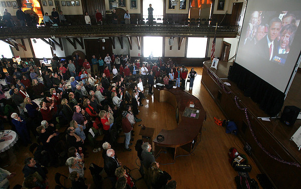 Gloucester: A couple hundred people gathered at Gloucester City Hall yesterday to watch the presidential inauguration. Photo by Kate Glass/Gloucester Daily Times Tuesday, January 20, 2009