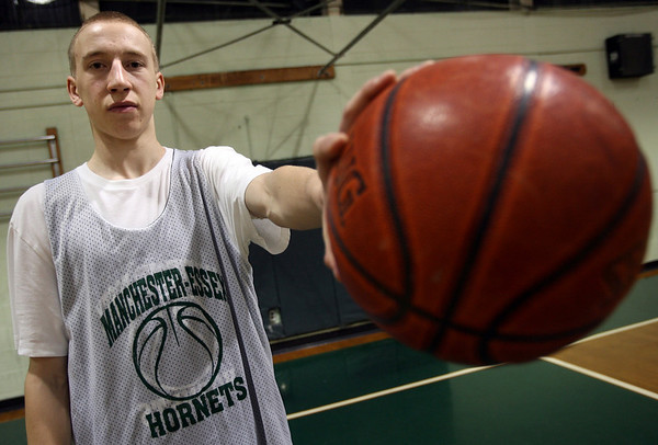 Manchester: Joe Mussachia is averaging 24 points and 13 rebounds per game for a much-improved Hornets team. He was also diagnosed with diabetes last summer. Photo by Kate Glass/Gloucester Daily Times Thursday, January 8, 2009