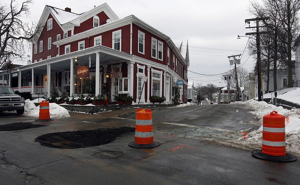 Rockport: School Street was closed for four hours as crews worked to repair a broken water main at the intersection of Main Street yesterday. Water was shut off to the surrounding area. Photo by Kate Glass/Gloucester Daily Times Tuesday, January 13, 2009