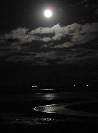 Essex: A perigee full moon rises over Twopenny Loaf in Essex Sunday night. The moon was 14 percent larger and 30 percent brighter than average. Robert Cann/Gloucester Daily Times