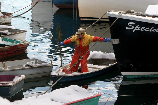 Gloucester: Peter Prybot rows in to Pigeon Cove after a day of lobstering Wednesday afternoon. Prybot said he had dressed for the cold but had trouble with ice forming on his boat when the sea got choppy.  Mary Muckenhoupt/Gloucester Daily Times