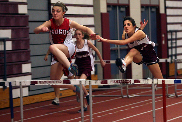 Gloucester: Gloucester's Isabel Pett competes in the 55m hurdle race during their indoor track meet against Saugus. Pett finished 2nd in the event. Photo by Kate Glass/Gloucester Daily Times Wednesday, January 7, 2009