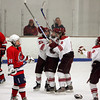 Gloucester: The Fisherman celebrate after John Interrante scored a goal for Gloucester in the first period of the hockey game against Lynn at Dorothy Talbot Rink Wednesday night. Pictured, from left, Interrante, MacKenzie Quinn, Conor Ressel and Vincenzo Terranova. Mary Muckenhoupt/Gloucester Daily Times