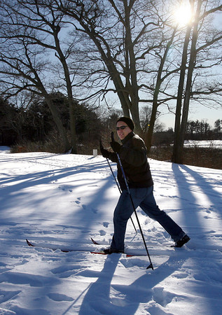 Manchester: David Amero cross-country skis at the Essex County Club yesterday afternoon. Amero says he skis at Ravenswood when it's windy, and at the golf course when it's calm. Photo by Kate Glass/Gloucester Daily Times