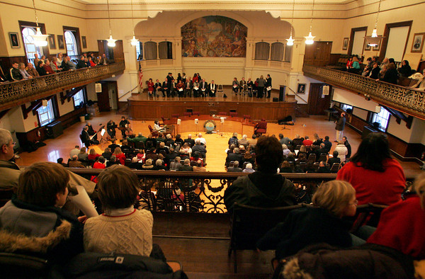 Gloucester: Hundreds of peopel filled Kyrouz Auditorium in Gloucester City Hall for the Inaguration Ceremonies Friday afternoon.  Mayor Carolyn Kirk, School Committee members and City Council members were all sworn into office. Mary Muckenhoupt/Gloucester Daily Times