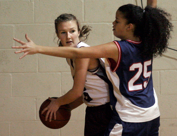 Rockport: Rockport's Hannah Evans tries to pass around Lynn Tech's Claribelle Ramirez at Rockport High School last night. Photo by Kate Glass/Gloucester Daily Times
