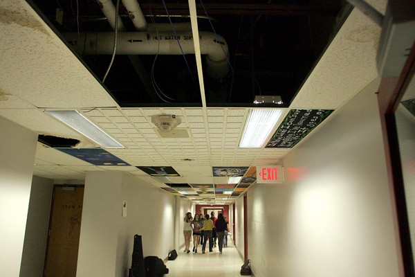 Rockport: Tiles in one of the hallways at Rockport High School are so badley damaged that they have been removed and not replaced because the roof is still in need of repair.  Maschusetts School Building Authority recently approved funding for nearly half the cost of the roof replacement for Rockport Middle/High School. Mary Muckenhoupt/Gloucester Daily Times
