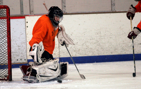 Gloucester goalie Jason Brooks makes a save during practice yesterday afternoon. Brooks has emerged as a strong piece of the Fishermen's resurgence back to .500. Photo by Kate Glass/Gloucester Daily Times