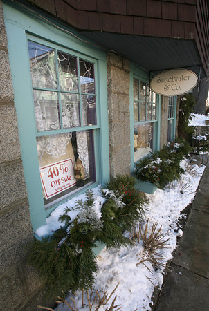 Rockport: Sweetwater & Company received a warning three days before Christmas for having an outdoor display, but many storeowners in Rockport were under the impression that the sign bylaw was not being enforced around the holidays because there is no permit process. Photo by Kate Glass/Gloucester Daily Times