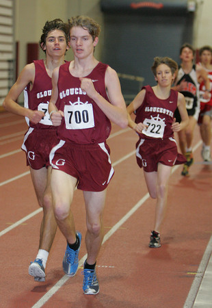 Gloucester: Gloucester's Wes Dunn, front, Noah Mondello and Winslow Powers, back, run the 1-mile race during the track meet at Gloucester High School Wednesday afternoon. Mary Muckenhoupt/Gloucester Daily Times