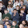 Rockport: Students at Rockport Elementary School cheer for their principal, Shawn Maguire, as he begins to look more and more like a birthday cake during Thursday's assembley. Maguire won a principal's challenge in a contest sponsored by Stop & Shop, in which he promised to turn himself into a human birthday cake for which the school would received $1,000 as part of the supermarket's A + Bonus Bucks program. Photo by Mary Muckenhoupt/Gloucester Daily Times